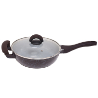 Chinese aluminum non stick ceramic coated deep fry pan with glass lid