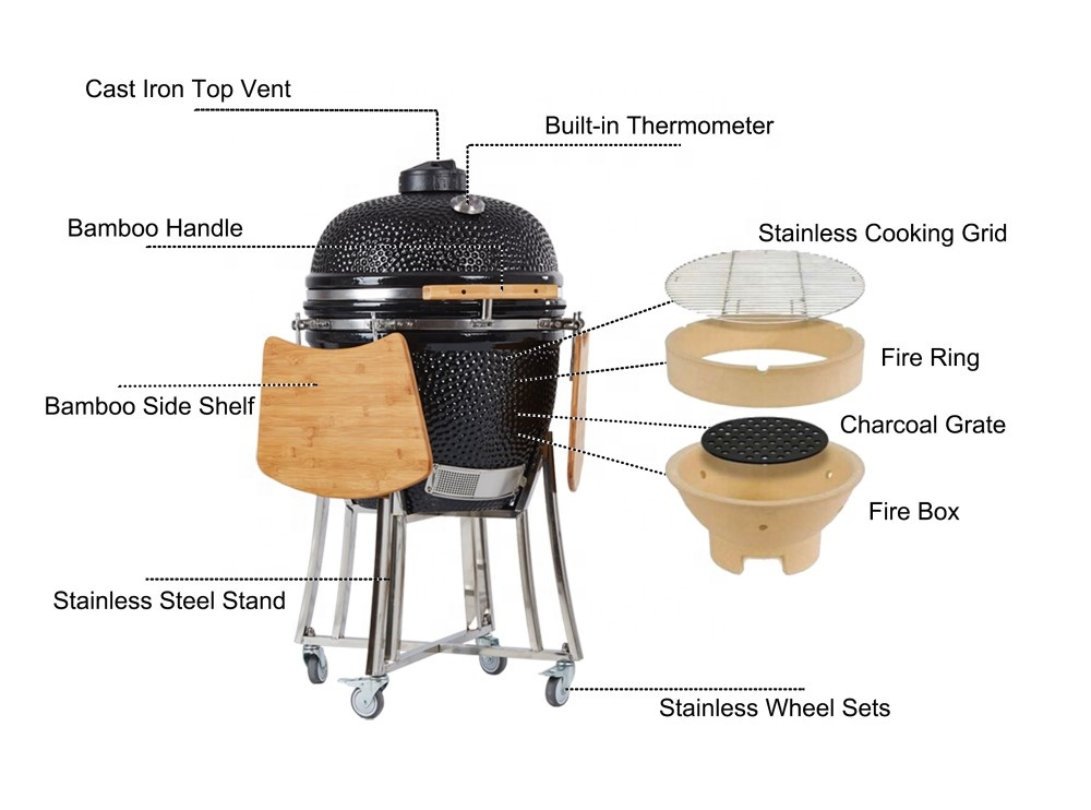 Fabbrica 21 pollici kamado griglia a carbone barbecue all'aperto