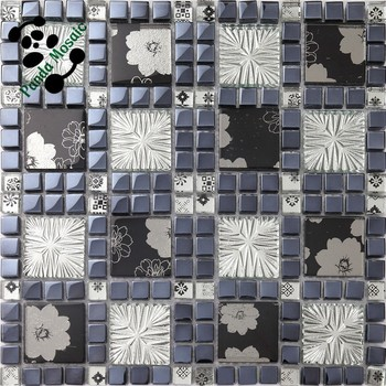 Smp26 Foshan China Decoration Mosaic Glass Black And White Flower ...