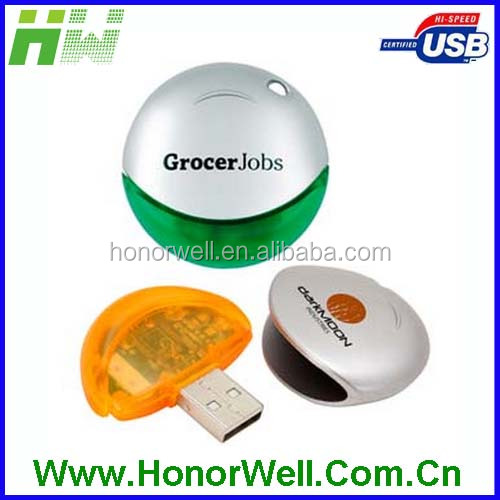 Promo Gift Advertising Marketing Transparent Round UFO Plastic Red Blue Black Yellow UFO Usb Flash Drive Memory Flash
