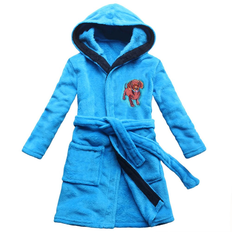 4b479f7e64 Get Quotations · 2018 Dog Embroidered Child Bathrobe Boy Pajamas Coral  Cashmere Robe