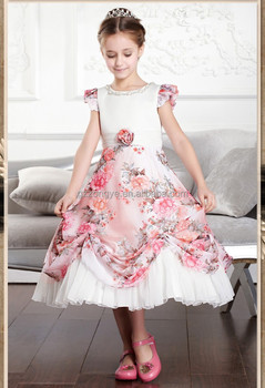 European court style elegance printing children rockabilly vintage dress princess girls summer short-sleeved jumpsuit dress OEM