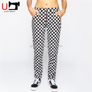 Wholesale Women Front And Back Zipper Check Casual Trousers Track Pants With Pockets