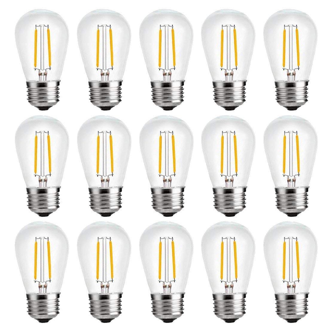 S14 Bulbs,2W LED Bulbs, Vintage Edison Led Light Bulbs,2700K (Warm White), 200 lumens, E26 Medium Base Lamp, Great for String Lights, Commercial Lighting, Patio, Wedding,Party, NOT-Dimmable,15 Pack