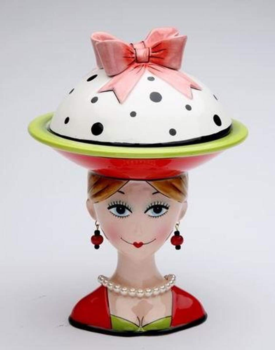 8 Inch Lady with Earrings and Red/White/Green Dilly Dot Top Candy Bowl