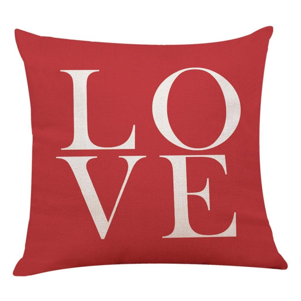 Hot Sale!!! Pillow Cases,Home Decor Cushion Cover Red Geometric Throw Pillowcase Pillow Covers (I)