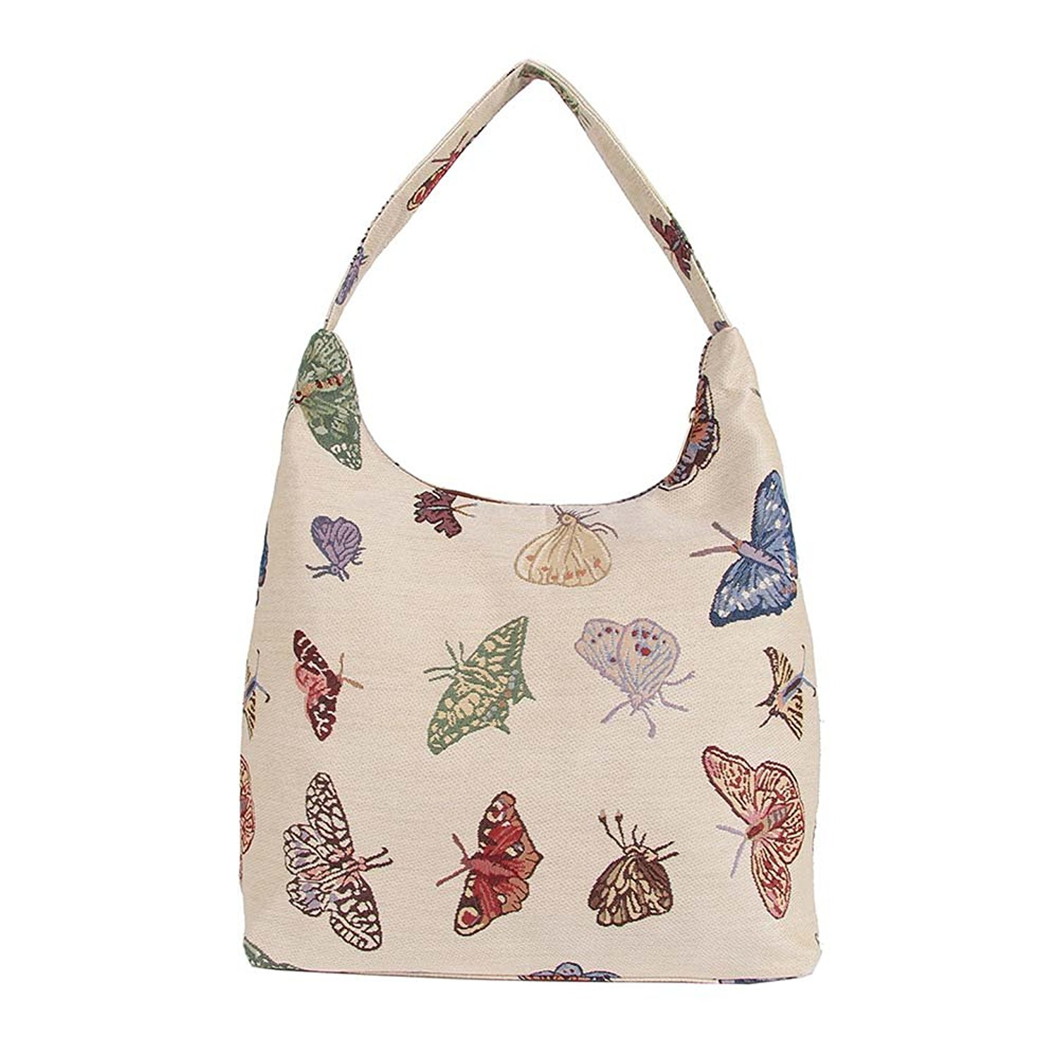 937dd727a0 Get Quotations · Butterfly Ladies Fashion Canvas Tapestry Top Zip Hobo  Shoulder Bag Beach Bag by Signare (HOBO