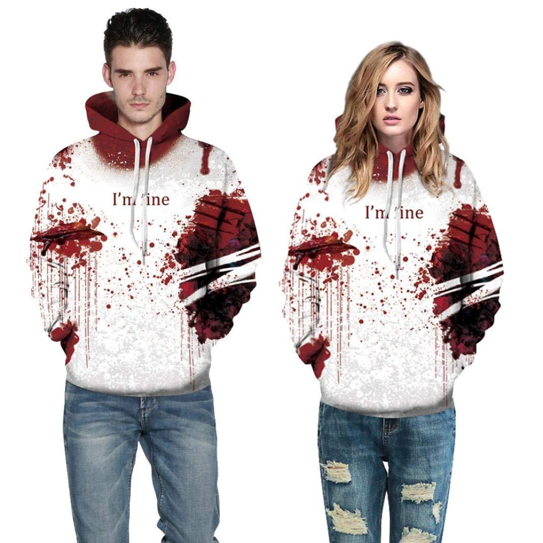 BOLUOYI Music Fan T-Shirts,Hoodies Men Designs,Halloween Women Men Blood 3D Printing Long Sleeve Hoodie Sweatshirt Pullover Top,Red,S/M