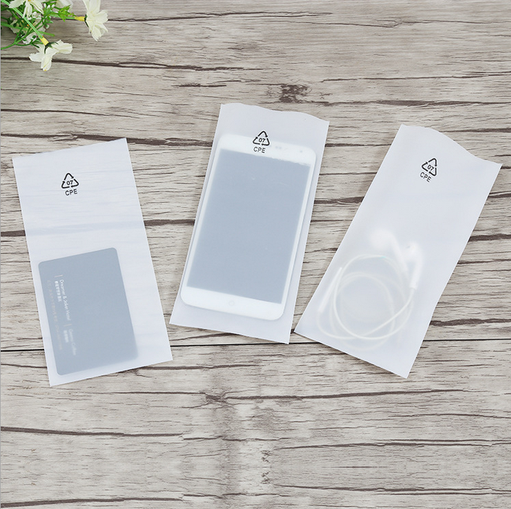 Frost transparent CPE plastic bag for mobile phone