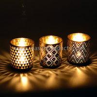 China set of 3 glass tea light holder candle holder with geometric figure