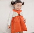 Toddler Sweet Kids Girls Fox Style Casual Dresses Sleeveless Spring Summer Fall Baby Dresses Orange Color