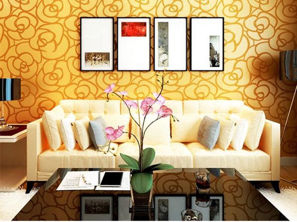 Background Wall Modern Velvet Wallpaper Gold Roses For