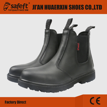 Good quality crazy horse leather slip on working boots steel toe cap safety shoes no laces HEX17007