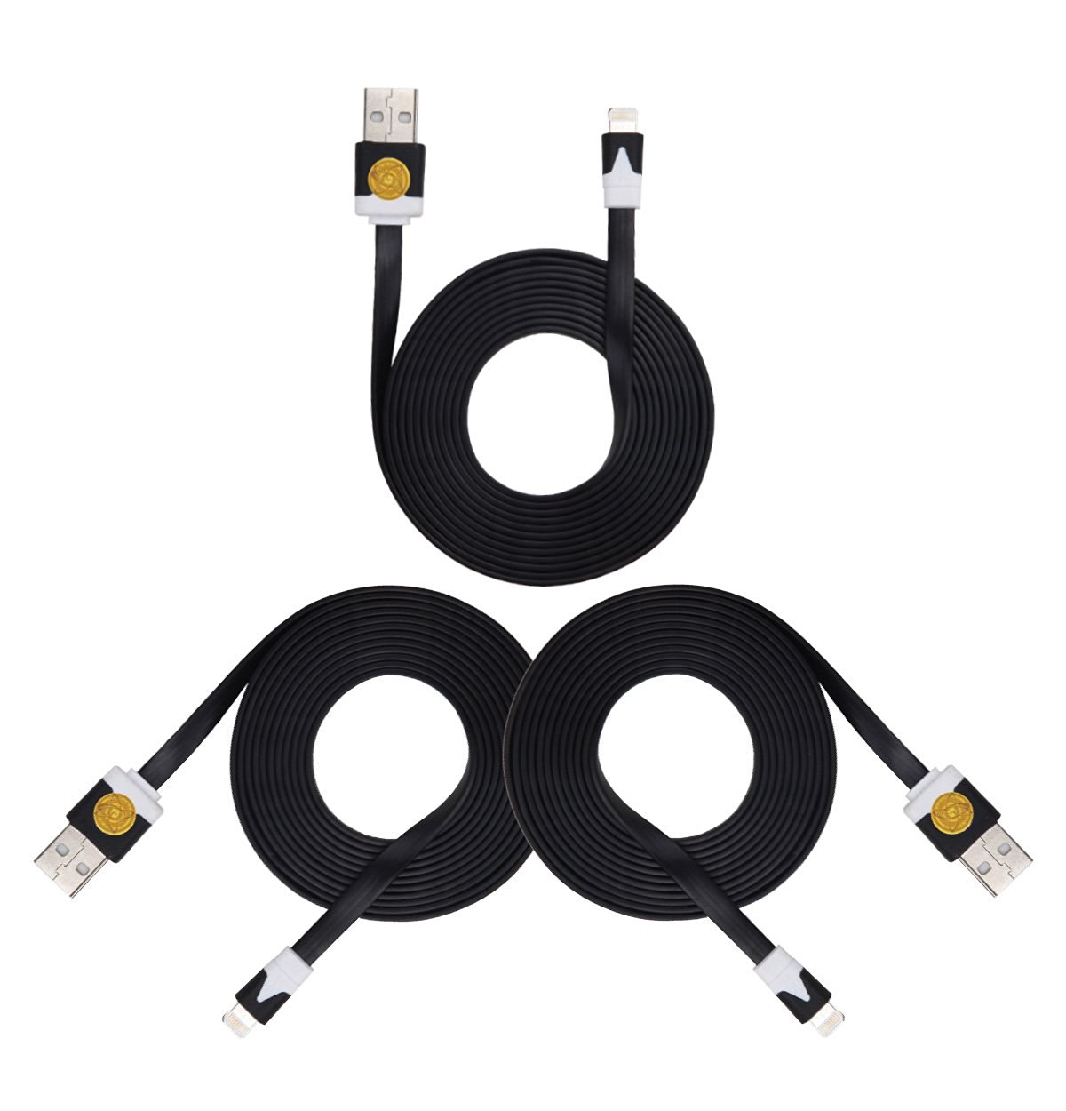 2M Heavy Duty Flat Noodle Lightning USB Cable for Apple iPhone 6,6S -Blk Blk Blk