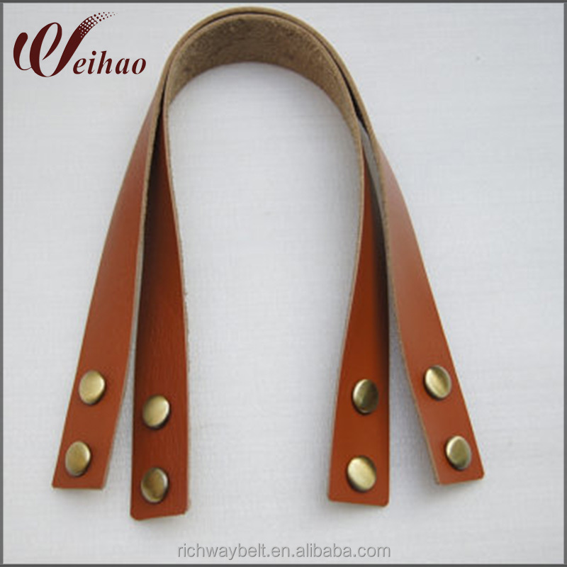high quality cow leather handbag handle purse handles purse straps with rivets
