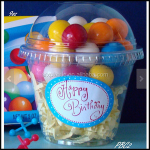 Gumball Tubes Favor Cups 9oz Birthday Cookies candy dessert cup with dome lids transparent clear containers wholesale