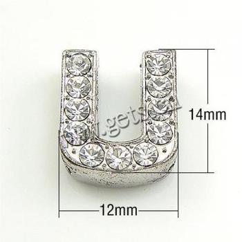 14x12x5mm Hole: 11x2mm Silver DIY Rhinestone Charms Letter A to Z Slide for wristband watch band bracelet pet collars