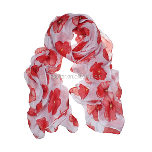 2018 Fashion wind Red Poppy Scarf Print Long Scarves Floral Beach Wrap Ladies Stole Shawl
