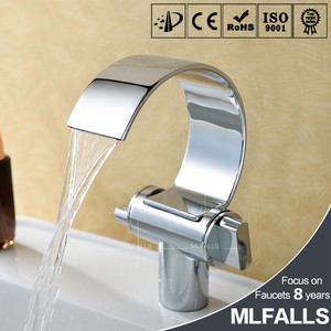 Top Sale Waterfall Bathroom Brass Mixer Faucet Taps Single Hole Sink Chromed