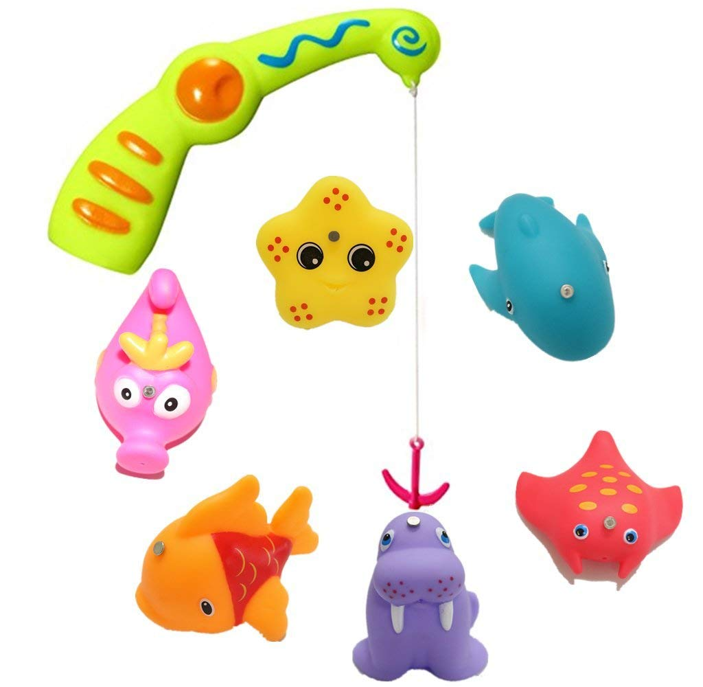 YOTIPP Baby Fishing Bath Toy, Kids Toddlers Water Toys Fishing Game with A Magnetic Fishing Rod, 6 Sea Characters and A Mesh Storage Bag