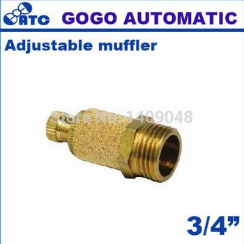 GOGO 5pcs a lot brass adjustable silencer 3/4 inch pneumatic throttle muffler exhaust valve PSB-06 for solenoid valve connector