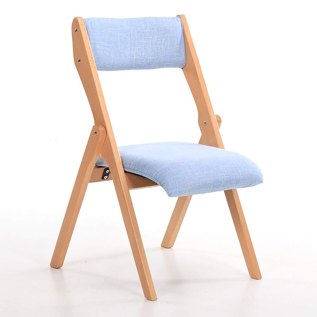 JHZDY Wooden Folding Chairs Beech Wood Folding Chairs Fabrics Single Solid Wood Dining Chairs Household Back Chairs Computer Chairs (Color : 2#)