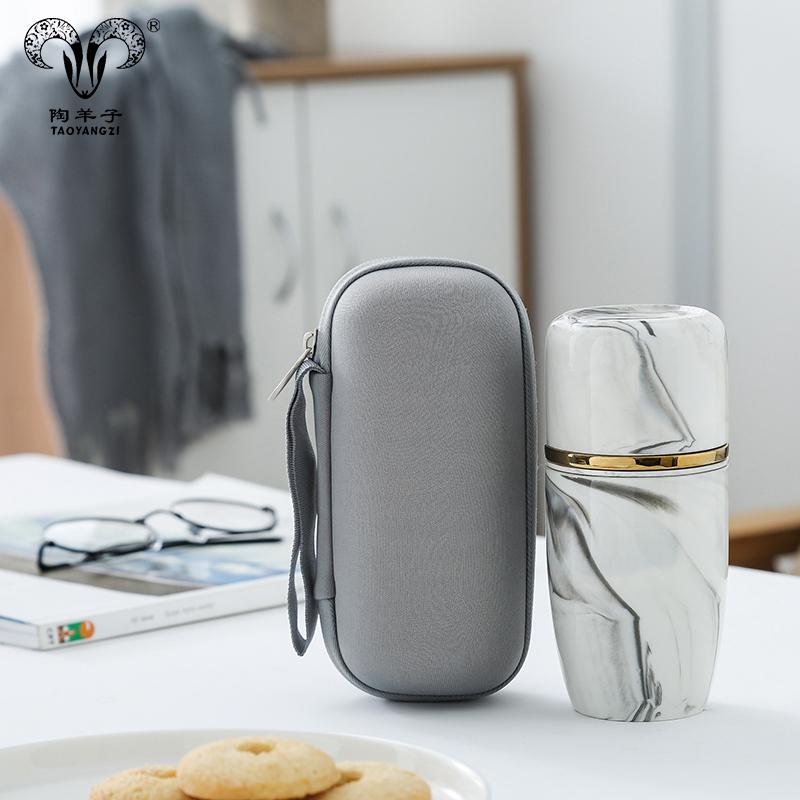 To-go kahve kupa çift duvar seyahat tipi kupa, seramik seyahat kapaklı kupa