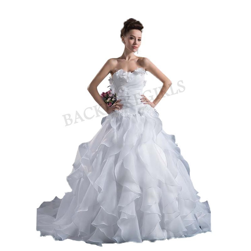 Wedding <strong>Dress</strong> 2019 New Fashion Ruffles A Line Strapless Flower Pleats Bridal Gown <strong>Vintage</strong> <strong>Inspired</strong> Bridal Gown