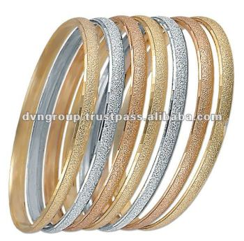 3 Mm Semanario Bangles Rhodiam Plated Three Tone Yellow Gold