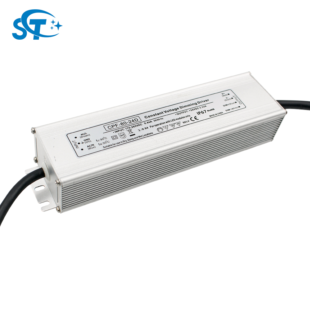 IP67 low Consumption 80W 24V DC Dimming Waterproof LED power supply , 0-3.33A Switch power supply driver for led lighting