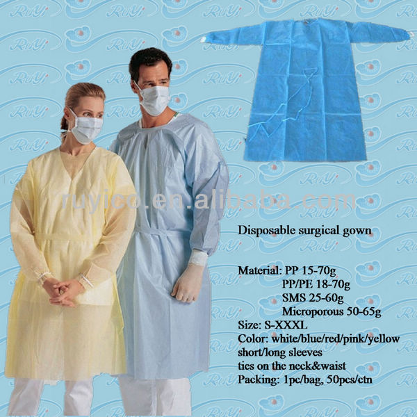 Disposable Nonwoven Wood Pulp Laminated Surgical Gown Sterilization ...