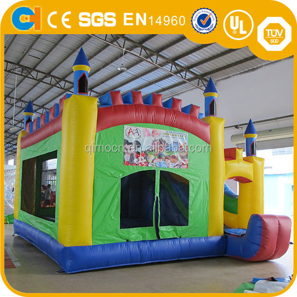 Outdoor inflatable house bouncer slide combo , Funny Kids colorful inflatable bouncy castle with slide