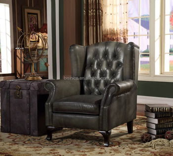 High Quality Luxurious Replica Green Leather Single Sofa/Classic Leather  Recliner/Victorian Style Leather