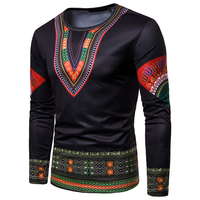 wholesale men long sleeve 3d printed o neck t shirts with cheap price