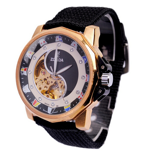 watch men The new 2015 mechanical watches Stainless Steel nylon strap