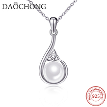 Fashion 925 sterling silver simple white pearl pendant necklace
