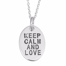 Silver Keep Calm Message Oval Pendant Necklace,Custom Texts Pendant Necklace