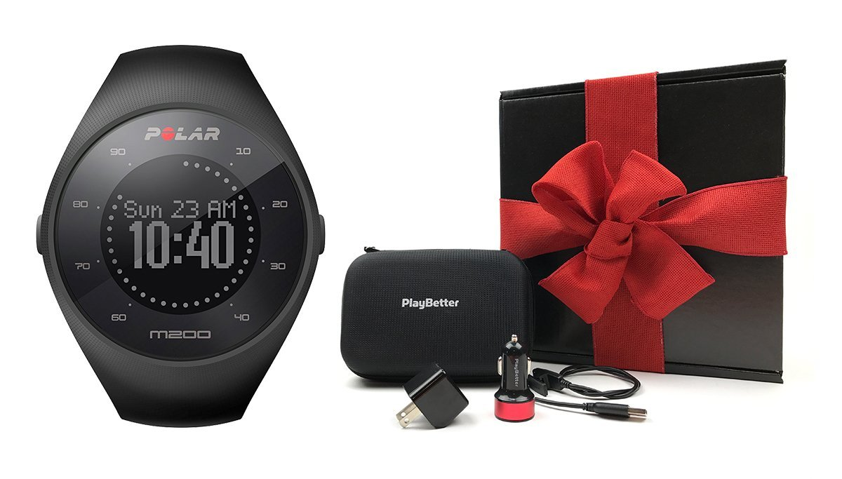 Polar M200 (Black) Gift Box Bundle | Includes GPS Running Watch (with Wrist HR), PlayBetter USB Car & Wall Charging Adapters, Protective Hard Carrying Case