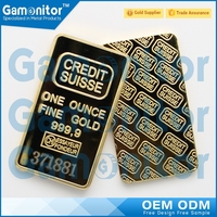 Custom Made 1 OZ Troy Ounce Size Fake 24K Gold Clad Bullion Bars with Different Serials NUmber