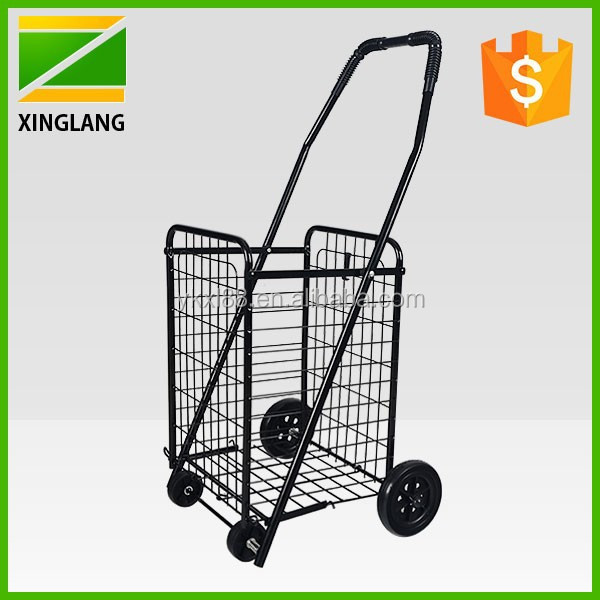 black four wheels foldable metal rolling cart ZZ501 in small size