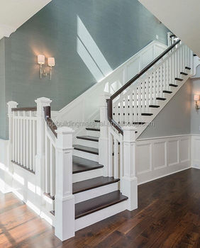 French Style Stairs L Shape Stairs Wooden Stair Baluster