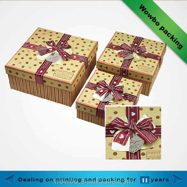 Beautiful cardboard gift box with ribbon