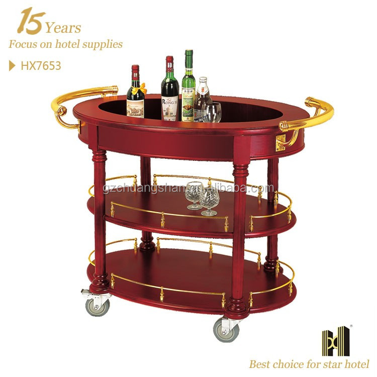 Wooden Liquor Service Trolley For Hotel