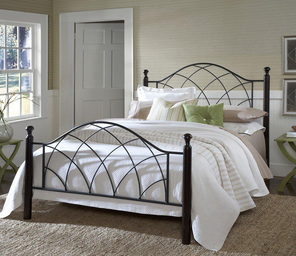 Vista Post Metal Bed Set, Sivler/Black Finish, Bed Frame Not Included, King