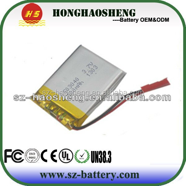 Shenzhen battery manufacturer 3.7v 550mah li-ion polymer battery 503040 mini mp3 player battery