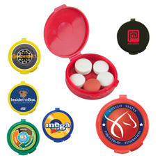 Hot sell round shape full color log printed lid outdoor single compartment large capacity durable plastic pill organizer box