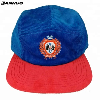 Vintage urban custom-made flat bill royal blue red embroidery 5 panel hat 641b6892891