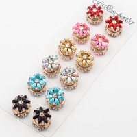 Beautiful crystal magnetic brooches pins flower pattern hijab pins pretty hijab pins