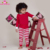 2018 Baby Girls Boys Long Sleeve Christmas Pajamas Set Kids Red Striped Xmas Cotton PJS Children 2Pcs Clothing Family Pajamas