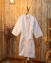 fashionable design 100% cotton embroidery waffle white home bath men and women soft touch sleeve bathrobe for four seasons